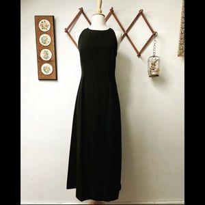 Un Deux Trois • Black Halter Cocktail Maxi Dress